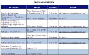 Calendario Maestría Imagen