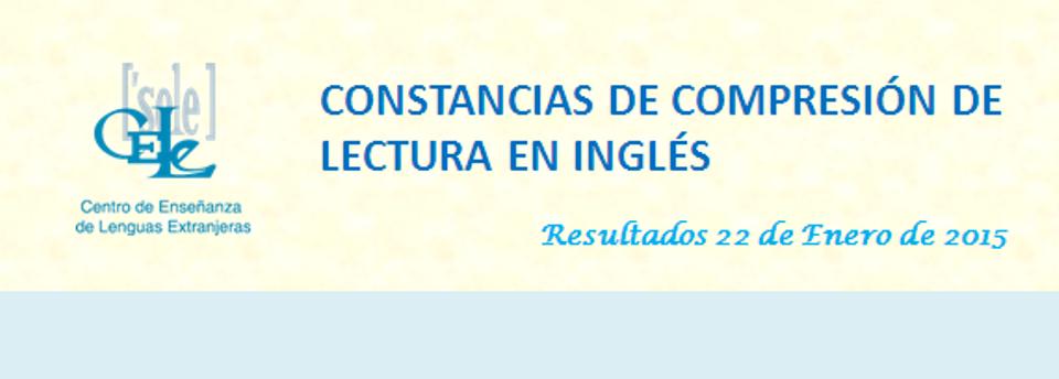 Constancias de Comprensión de Lectura en Inglés CELE UNAM
