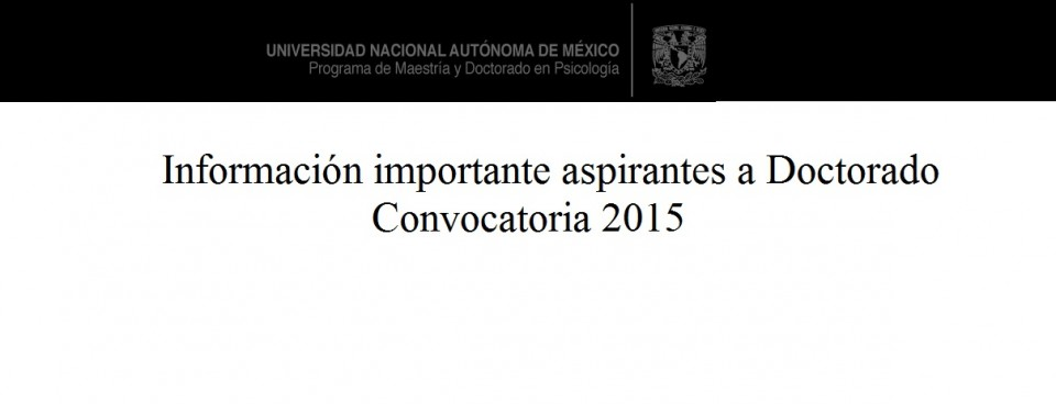 Información importante aspirantes a Doctorado Convocatoria 2015
