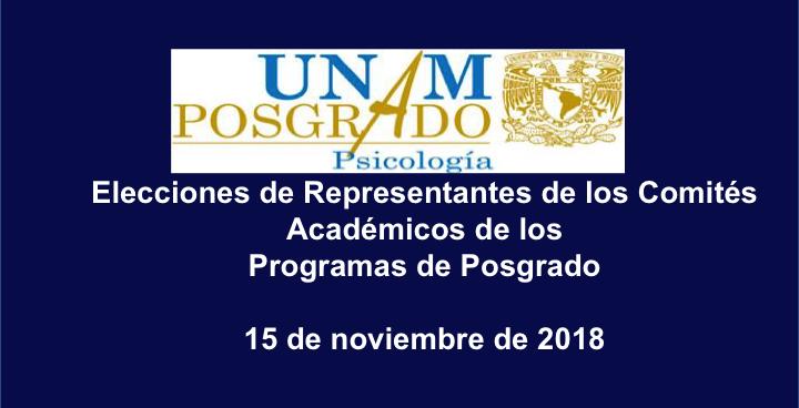 Elecciones de Representantes para integrar el Comité Académico del Programa de Maestría y Doctorado en Psicología 2018