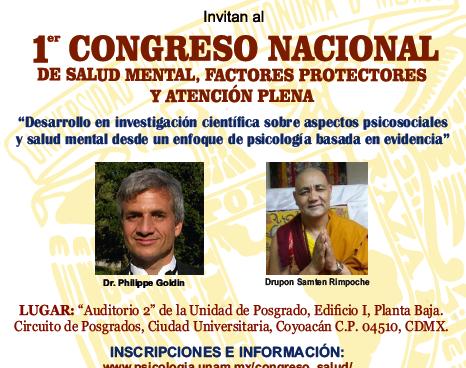 1er. Congreso Nacional de Salud Mental, Factores Protectores y Atención Plena